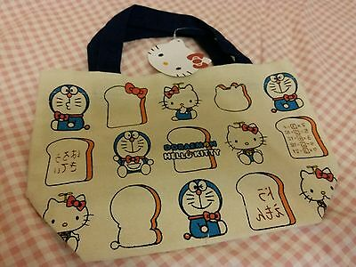 Japan Brand Doraemon x Hello Kitty Beige Color Cotton Lunch bag x1 pc