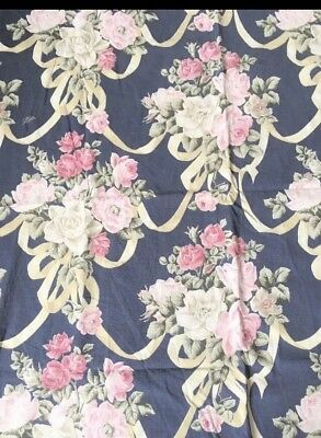 1930/40s French Cabbage Rose Scroll Curtain Fabric Shabby Chic Boudoir Vat Print