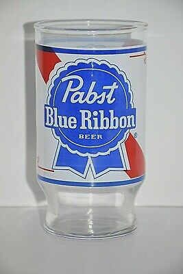"Pabst Blue Ribbon Applied Two Sided Graphics 5.25"" 12 oz 0.35l Footed Beer Glass"