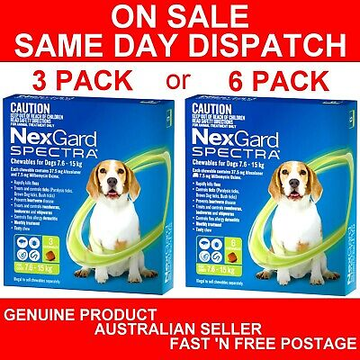 NexGard Spectra Chewables For Dogs Green 7.6-15kg 3 Pack or 6 Pack