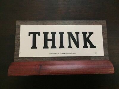 Vintage Think Compliments of IBM Wood Sign Plaque Advertising 1960s