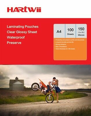 Hartwiis 100 Sheet A4  Glossy Clear Laminating Pouch Film 150 Micron AU Stock