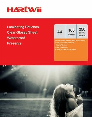 Hartwiis 100 Sheet A4  Glossy Clear Laminating Pouch Film 250 Micron AU Stock
