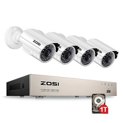 ZOSI Metal Shell 1TB 8CH 1080N 1500TVL Home CCTV Security Camera System + GIFT