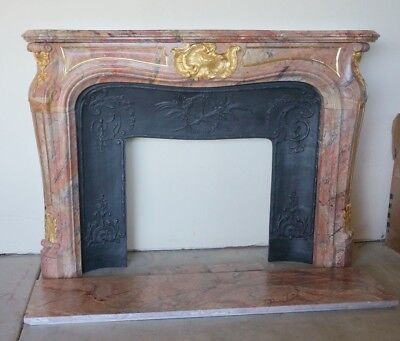 Exceptional Louis XV-style marble fireplace mantel with gilt bronze mounts
