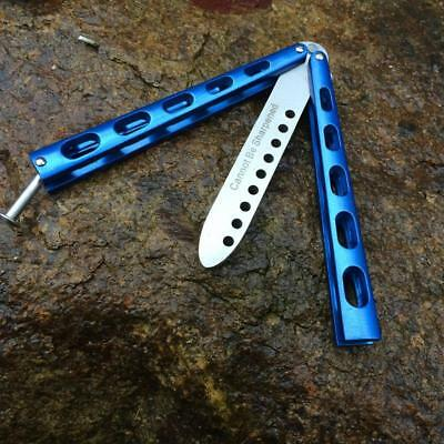 Blue Metal Practice BALISONG METAL BUTTERFLY Steel Trainer Dull Knife Exquisite