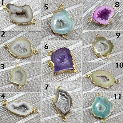 Charming Natural Geode Slice Druzy Gold Electroplated Connector Making Jewelry