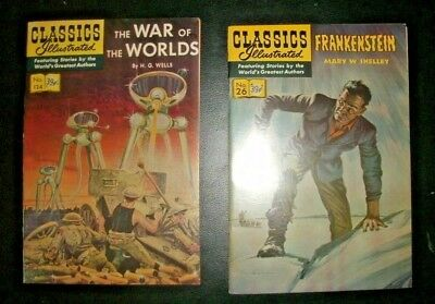 Vintage Classic Illustrated Frankenstein & War of the Worlds Comics