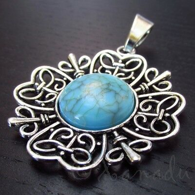 Large Focal 65mm Antiqued Silver Plated Turquoise Pendant C3731-1 2 Or 5PCs