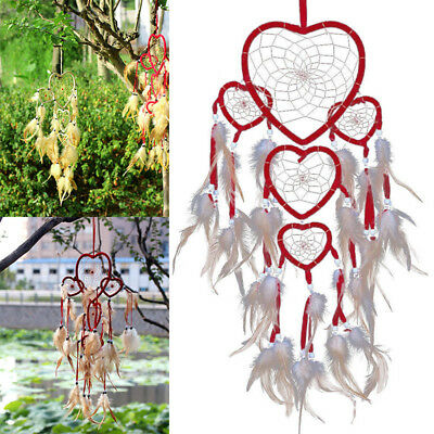 Red Love Heart Dream Catcher With Feathers Wall Car Hanging Ornament Decor