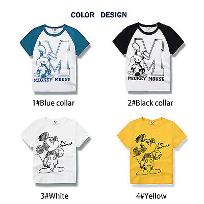 Kids Boys Baby Mickey Mouse Short Sleeve T-Shirt Tops Cotton Tee Summer Clothes