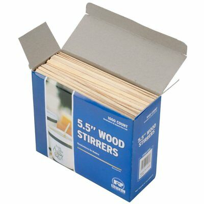 """5.5"""" Disposable Wooden Coffee Stirrers Biodegradable Beverage Sticks 1000 Count"""