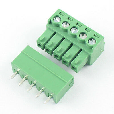 10Pcs 3.5mm Pitch 5 Pin Way Straight Screw Terminal Block Pluggable Connector