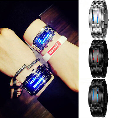 Men&Women Stainless Steel Blue Binary Luminous LED Electronic Display Watches