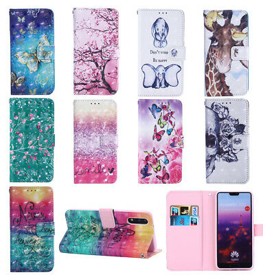 Flip Wallet Leather 3D Case Stand Cover For Huawei P20 P20 Lite P20 Pro P Smart