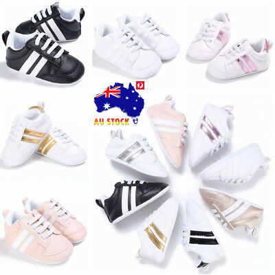 AU Newborn Baby Toddler Infant Boys Girls Sneaker Soft Sole Crib Trainers Shoes