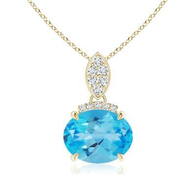 cf2901efb East West Set Solitaire Swiss Blue Topaz Diamond Pendant with 18