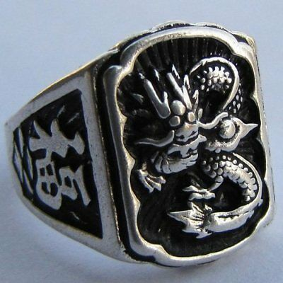 Cool Exquisite Vintage Tribal Tibet silver carved Dragon ring Size 8-9