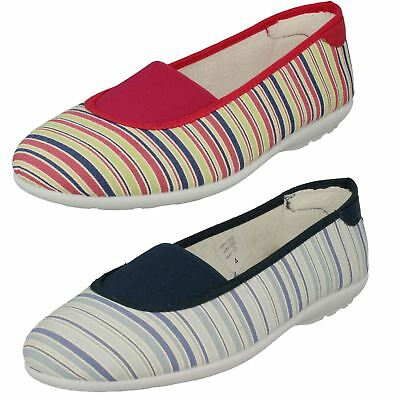 Ladies Stripe Easy B Light Weight Casual Slip On Summer Canvas Shoes Hilary