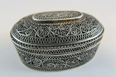 Antique 19th  rare Islamic Arabic Ottoman Persian Solid Silver Filigree box