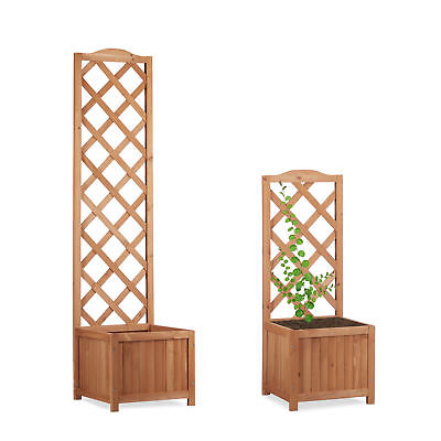 Outdoor Planter Box with Trellis, Weatherproof Lattice Flower Pot, Wooden