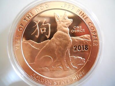 2018 Year of the Dog 1 oz .999 Copper Round BU
