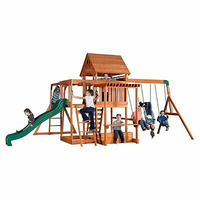 Kid Wooden Swing Sets Backyard All Cedar Play Set Picnic Table Slide