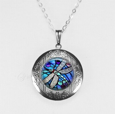 DRAGONFLY Insect Locket Necklace, Nature Lover Gift Memorial