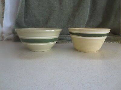 Two (2) Signed Watt Green & White Banded Bowls #7, and #6 -  4 Cup & 3 Cup