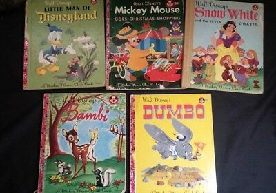 Lot of 5 Vintage Walt Disney's Mickey Mouse Club Books Young Children 1940/50's