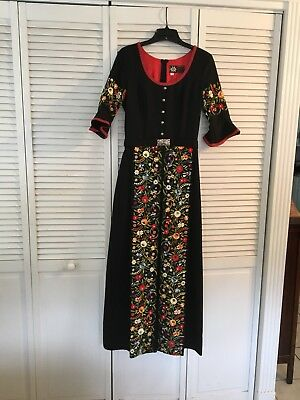 Vintage Dirndl Dress Maxi German Oktoberfest Sz S Intimex Co. Floral Embroidery