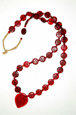 Vintage Islamic Haji heart necklace with red glass trade beads Czech Repubblic