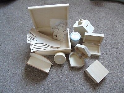set of wooden items for decoupage + glue+ napkins