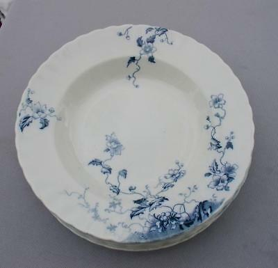 6 W.H. Grindley Flow Blue Soup Bowls  Duchess Pattern Excellent cond.