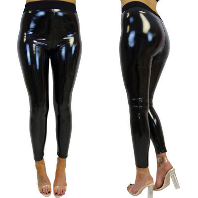 Sexy Damen PU Lederhose Lack Glanz Leggings Hohe Taille Wetlook Hose Leggins