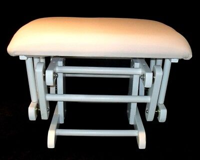 Glider Chair Cushioned FOOT REST FOOTSTOOL White WOOD Ottoman Furniture