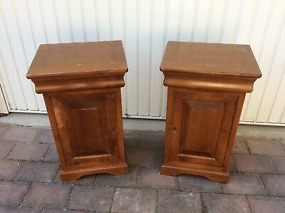 Pair Of Good Quality Cherrywood Bedside Cupboards With Drawers And Keys