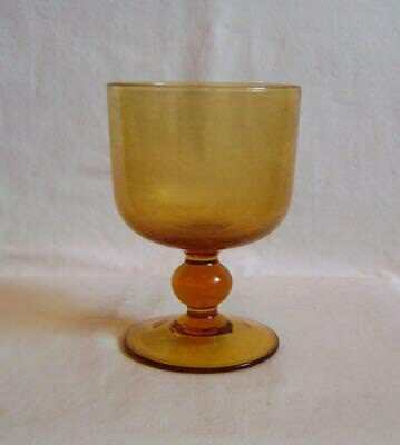 Late Victorian Amber Glass Rummer Goblet with Simple Knopped Stem,  A/F