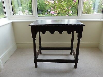 vintage or antique small oak side table