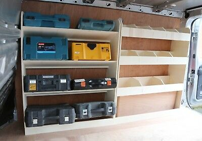 Renault Trafic LWB 2015+ Plywood Van Shelving Racking OS Angled Front and Rear