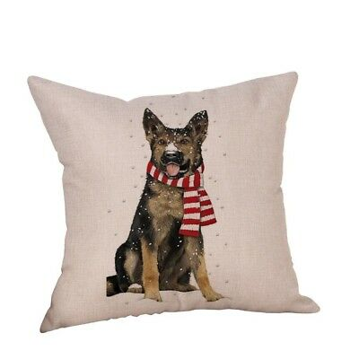 (H) - YanHoo Christmas Dog Linen Cushion Cover Throw Pillow Case Sofa Bed Home