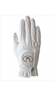 (8, white-crystal) - Roeckl - ladies crystal riding gloves LISBOA