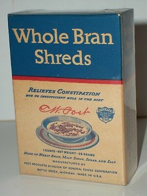 1930's POST WHOLE BRAN SHREDS CEREAL Sample Individual Size EMPTY Box Gen Foods
