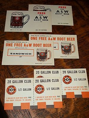 """6 Mint A & W w/1960 Root Beer Red ARROW Glass Mug """"FREE"""" CARDS NOS Soda Fountain"""