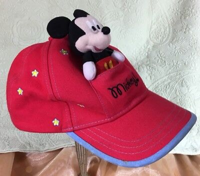 Ride Along Remove-able MICKEY MOUSE Disney Cap Hat Adjustable Child's Kids EUC