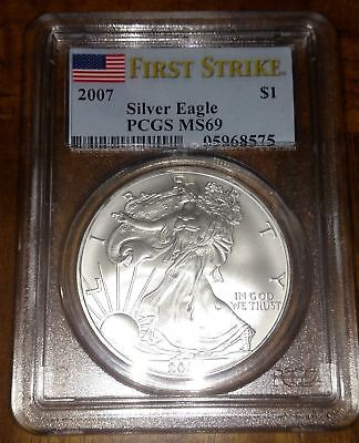 2007 Silver American Eagle PCGS MS-69 FIRST STRIKE FLAG LABEL