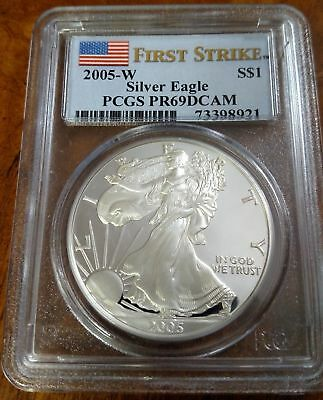 2005-W First Strike American Eagle Silver Proof Dollar Coin Pcgs Pr69 Dcam