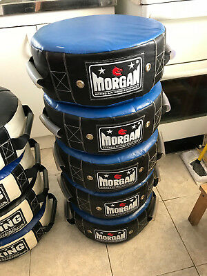 MORGAN Boxing ROUND SHIELD PADS PUNCH KICK MMA MUAY THAI BUMP HIT UFC FOAM USED