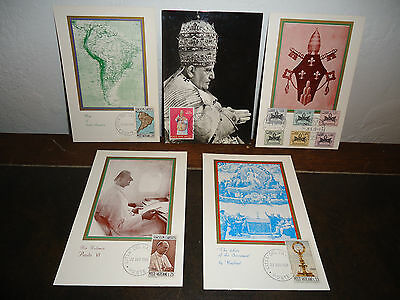 Vintage Vatican City Lot Of Five (5) Stamped Post Cards 1959-1968
