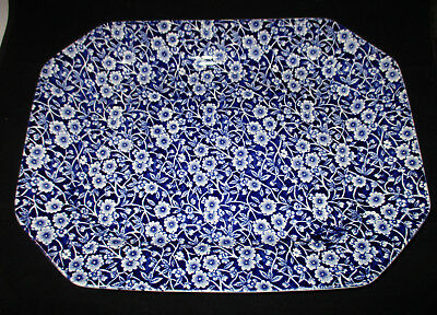 Crownford China Blue Calico Oval Serving Platter, Burleigh Stamp, England